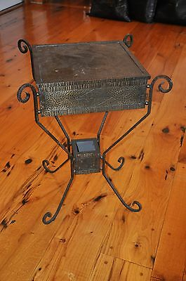 Antique French Art Deco Wrought Iron Side Table / Sewing Table