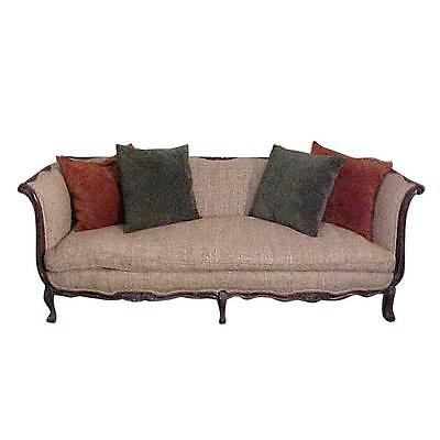 Chic French Country Walnut Sofa Tussah Silk Upholstery with Provenance