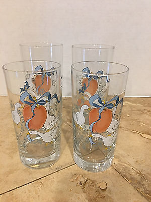 Vintage Set of 4 Country Geese & Apples w/Blue Ribbons Drinking Glasses EUC