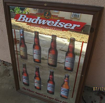 Vintage 1998 Budweiser Classic American Lager Large Mirror Bar Pub Man Cave Nice