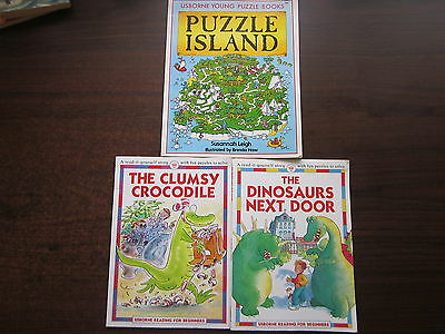 3 x USBORNE YOUNG PUZZLE ADVENTURES Reader Books CLUMSY CROCODILE, ISLAND, DINO