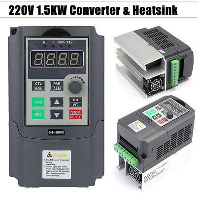 220V 1.5KW Single Phase Input To 3 Phase Output Frequency Converter 2HP VFD VSD