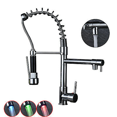 18-inch LED Sprayer Kitchen Sink Faucet Pull Down Spring Sink Mixer Tap Chrome