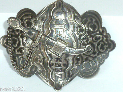 Antique Russian solid Silver Niello Belt Buckle CAUCASUS KABKA3