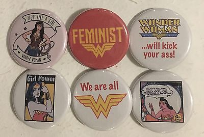 """Feminist Wonder Woman Lot of 6 1 1/4"""" Pinback Buttons or Magnets Feminism"""