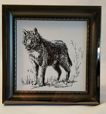"Wolf Picture Black & White Art by Charles H. Gaudelle 6"" x 6"" x 3/4"" Metal Frame"