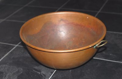 "Vintage Large Copper Solid Mixing Bowl Williams Sonoma 12"" Patina Brass Ring"