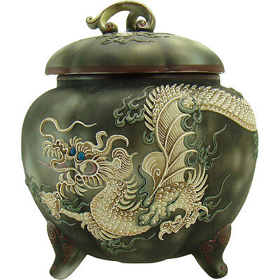 Nippon Moriage and Enameled Porcelain Biscuit Jar with Dragon