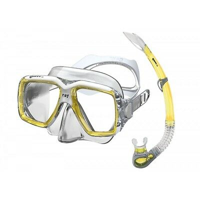 Mares Ray Set Mask Snorkel Dive Freediving Spearfishing Silicone Yellow 411759