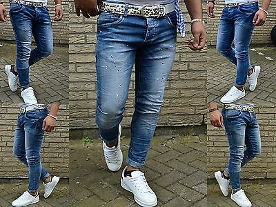 Crazy Fashion Herren Style Farbklecks Skinny Young Mode Stonedwash Jeans Hose