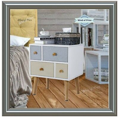 Retro Bedside Table Furniture Storage Cabinet Modern Chic Wood Canvas 4 Drawers