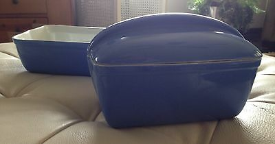 Vintage HALL Westinghouse  Refrigerator Dishes TWO Blue EXCELLENT CONDITION!!