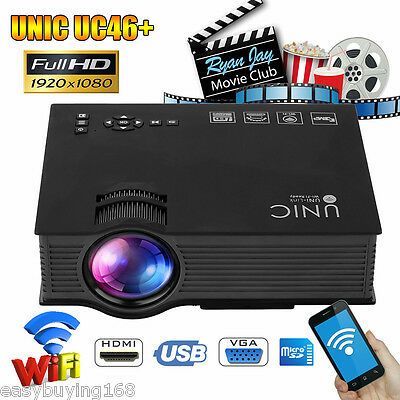 Unic UC46+ LED 1080P HD WIFI Projektor Heimkino Beamer for iphone Android Tablet