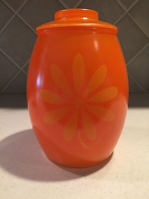 Vintage 1970's Orange and Yellow Daisy Mod Cookie Jar with Lid
