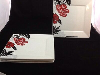 """Set of 4 Dinner Plates 10.5"""" Coventry FIORELLA Red Black Floral Square Porcelain"""
