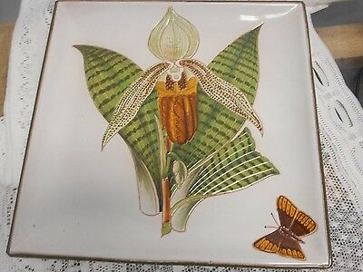 Vintage Hand Made for the Walter Hatches W. Italy Square Flower Tray Plate