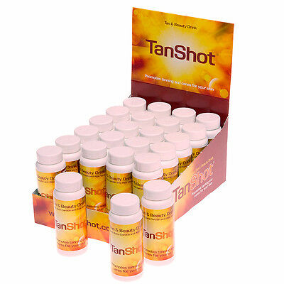 TANSHOT Sunbed Tanning enhancing Beauty Drink Vitamins A, C, E enriched TAN SHOT