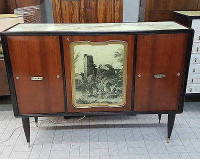 Magnificent Italian Bar Cabinet-Sideboard Rosewood Veneered 1950 Print On Glass