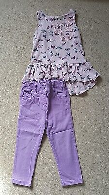 Next baby girls summer outfit/butterfly top & lilac skinny jeans, 18-24 months