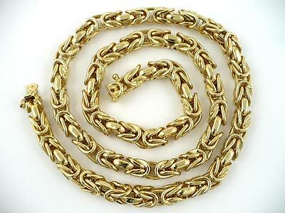 """18"""" BYZANTINE 31.36gm CHAIN 14k Solid Gold 1/4 inch Thick made in ITALY New"""