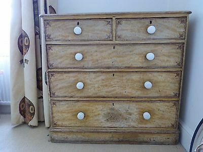Original scumble painted Victorian chest of drawers