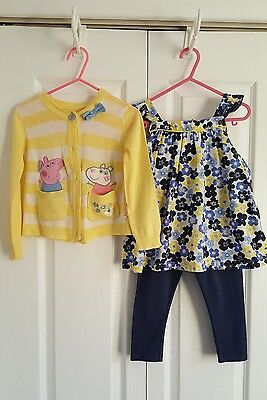 Next baby girls peppa pig outfit/floral top, cardigan & leggings, 18-24 months