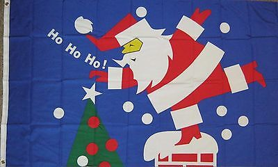 New 3' by 5' Ho Ho Ho Flag with Santa coming down Chimney. Free Ship in Canada!