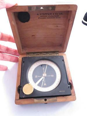 Vintage Precision Signed A. Stoppani & Co. Swiss Compass W Wooden Case