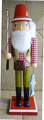 Hand painted Wooden FISHERMAN Nutcracker holds fish rod tackle box HOLIDAY DECOR