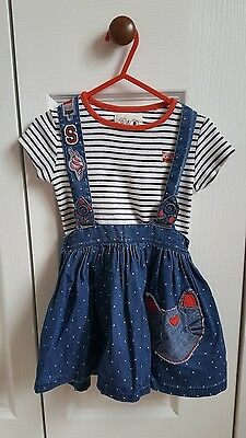 Next baby girls summer outfit/denim cat skirt with braces & top, 18-24 months