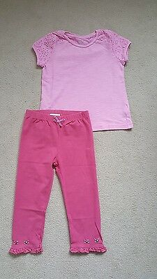 Next/Monsoon baby girls summer outfit/pink top & leggings, 18-24 months
