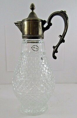"Vintage Italian Sheraton  Pitcher 12.5"" Silverplate Pressed Glass Diamond Carafe"
