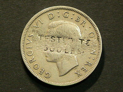 """Britain 1951 Two 2 Shillings, Counterstamp """"Tested to 500lbs"""" Royal Mint #G6456"""