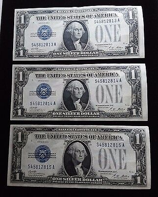 1928 A 1$ Silver Certificates,THREE CONSECUATIVE FUNNY BACK  serial numbers