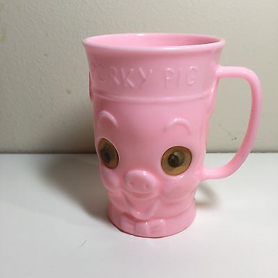 1960's EAGLE Pink Porky Pig Plastic Milk Cup-Lenticular eyes  VERY HARD TO FIND!