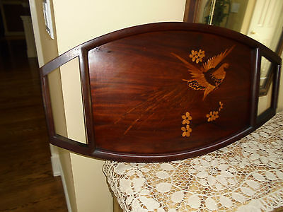 Vintage Japanese inlay marquetry wooden large Bon tray~Bird In Flight Beautiful