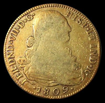 1809 Nr Jf Gold Colombia 8 Escudos Ferdinand Vii Coin Cartagena Mint