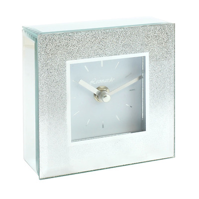 Silver Glitter Square Mantle Clock Mirrored Bedside Sparkle Living Room