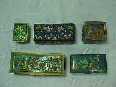 Five Antique Chinese Enameled or Cloisonne Brass Stamp Boxes