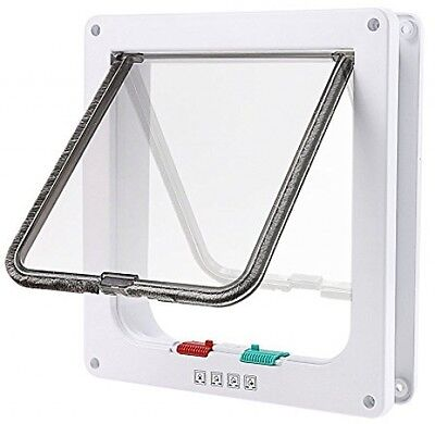 Tencro 4-Way Locking Cat Flap Small Dogs Door In And Out Safe Pet Door With -