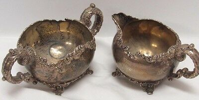 Creamer & Sugar Bowl By R Wallace & Sons Sterling 200 Grans Estate  Vintage