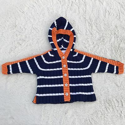 Hanna Anderson Baby NEW Blue White Orange Striped Cardigan Sweater size 60 2-6 M