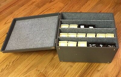 Vintage 35mm Slide Carrier Box Case 24 Tray w Handle Gray - Missing 8 Trays
