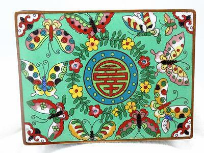 Antique Chinese Cloisonne Enamel Butterfly 4 Section Trinket Jewelry Box