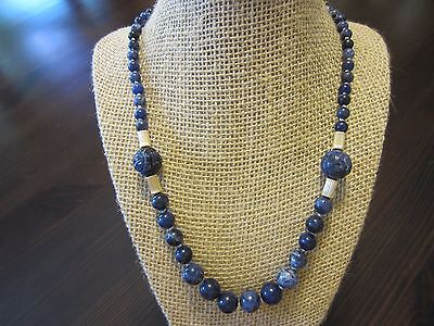 VTG Chinese Sodalite Graduated,SHOU Carved,14K Solid Gold Clasp & Beads Necklace