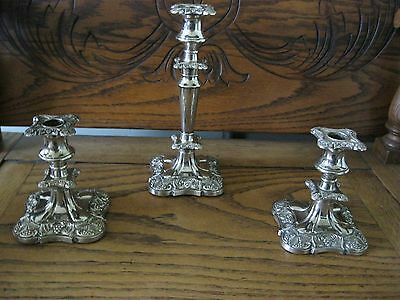Antique Heavy Ornate Silver Plate Candlesticks Candle Holders .