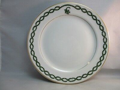 Vtg Shenango Restaurant ware china.Green laurel border plate.CWC logo