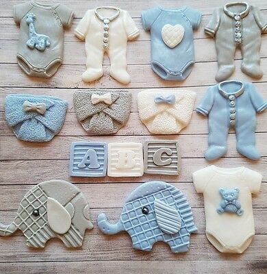 14 mixed baby Blue boy christening edible cupcake toppers,Baby shower