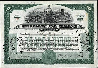 Petroleum And Trading Corporation, 1929, Cancelled Stock Certificate