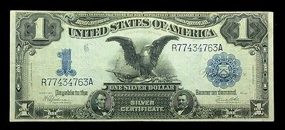 """1899 1.00 One Dollar Silver Certificate """"black Eagle"""" Large Note Very Fine"""